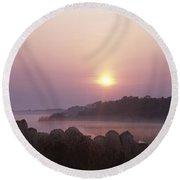 Delicate Morning Round Beach Towel