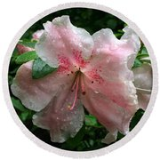 Delicate Pinks In Rain - Flower Photography Round Beach Towel
