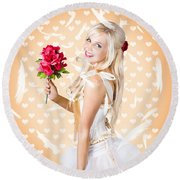 Delicate Young Woman Holding Flower Bunch Round Beach Towel