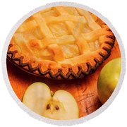 Delicious Apple Pie With Fresh Apples On Table Round Beach Towel
