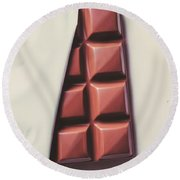 Delicious Chocolate Bar In Wrapping On Plate Round Beach Towel