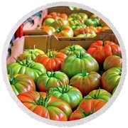 Delicious Tomatoes Round Beach Towel