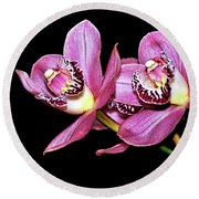 Delightful Orchid Round Beach Towel