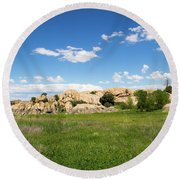 Dells And Lake Round Beach Towel