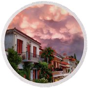 Delphi Greece Sunset Round Beach Towel
