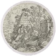 Democritus Mediterend, Jonas Umbach, 1634 - 1693 Round Beach Towel