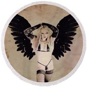 Demon Girl By Mb Round Beach Towel