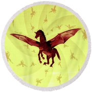 Demon Winged Horse Round Beach Towel