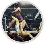 Dempsey And Firpo  Round Beach Towel