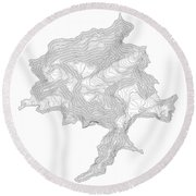 Denali Art Print Contour Map Of Denali In Alaska Round Beach Towel