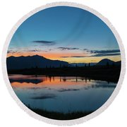 Denali Reflection Lake Round Beach Towel