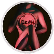 Denial - Self Portrait Round Beach Towel