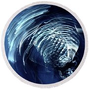 Denim And Light  Abstract 1 Round Beach Towel