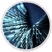 Denim And Light  Abstract 2 Round Beach Towel
