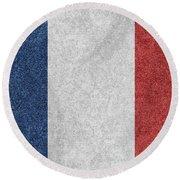 Denim France Flag Illustration Round Beach Towel
