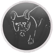 Butterfly The Frenchie Round Beach Towel
