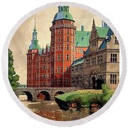 Denmark, Castle, Romance Of The Middle Ages Poster Round Beach Towel