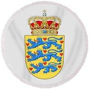 Denmark Coat Of Arms Round Beach Towel
