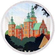 Denmark, Rosenborg Castle, Vintage Travel Poster Round Beach Towel