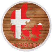 Denmark Rustic Map On Wood Round Beach Towel