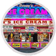 Dennys Ice Cream Shop Round Beach Towel