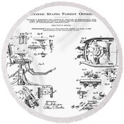 Dentists Chair Patent 1892 Round Beach Towel