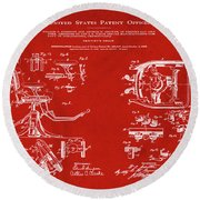 Dentists Chair Patent 1892 In Red Round Beach Towel