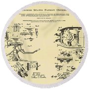Dentists Chair Patent 1892 In Sepia Round Beach Towel