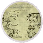 Dentists Chair Patent 1892 In Vintage  Round Beach Towel