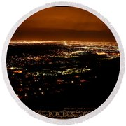 Denver Area At Night From Lookout Mountain Round Beach Towel