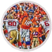 Denver Broncos Peyton Manning Oil Art Round Beach Towel