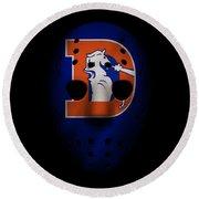 Denver Broncos War Mask 3 Round Beach Towel