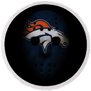 Denver Broncos War Mask Round Beach Towel