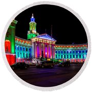 Denver City County Building Holiday Lighting. Round Beach Towel