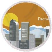 Denver Colorado Horizontal Skyline Print Round Beach Towel