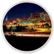 Denver Night Skyline Round Beach Towel