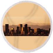 Denver Skyline 2003 Round Beach Towel