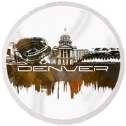 Denver Skyline City Brown Round Beach Towel