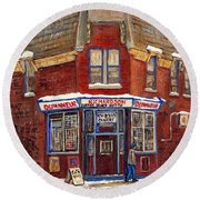 Depanneur De Montreal Pointe St Charles Best Original Montreal Paintings On Sale Peintures A Vendre  Round Beach Towel