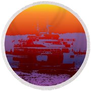 Departing Ferry 2 Round Beach Towel