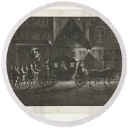 Departure Of Alva From Amsterdam, 1573, Barent De Bakker Attributed To, After Hermanus Petrus Scho Round Beach Towel