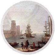Departure Of Ulysses From The Land Of The Feaci  Round Beach Towel