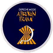 A Broken Frame Logo With Name Round Beach Towel