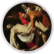 Deposition Round Beach Towel by Michelangelo Merisi da Caravaggio