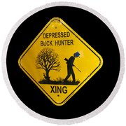 Depressed Buck Hunter Round Beach Towel