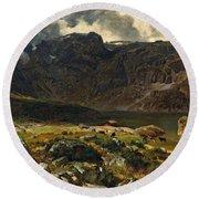 Der Hintere Murgsee. St. Galler Alpen. 1878 Round Beach Towel