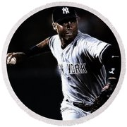 Derek Jeter Round Beach Towel by Paul Ward