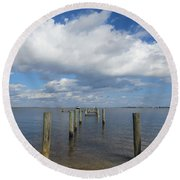Derelict Dock Round Beach Towel