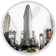 Desaturated New York Round Beach Towel
