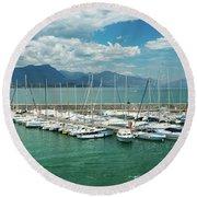 Desenzano Del Garda Lighthouse Italy Round Beach Towel